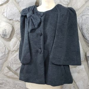 Ryu Jackets & Coats - Ryu Gray Bow Cape Coat